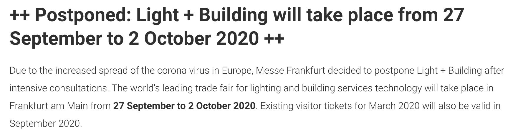 最新消息:Light+Building2020将延期至2020年9月27日-10月2日举办