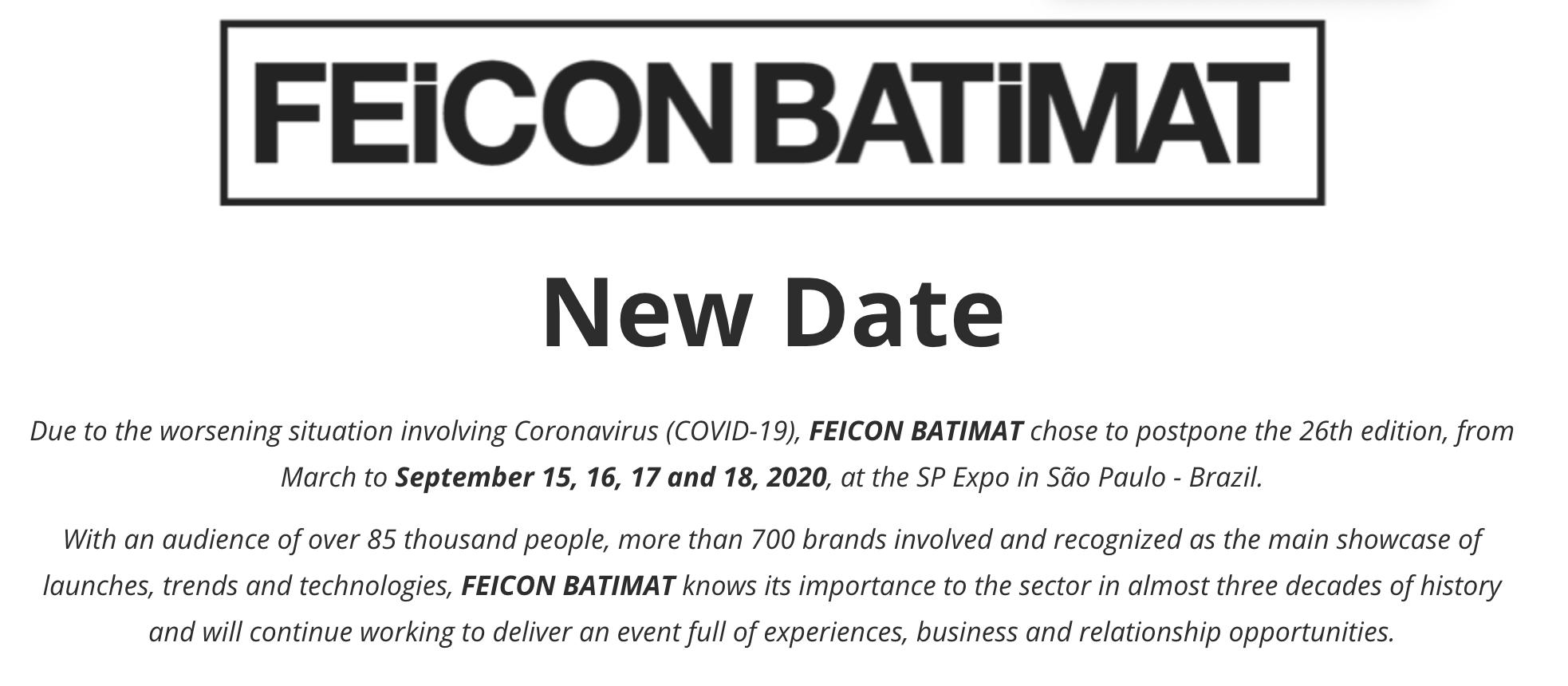 巴西建材展FEICON BATIMAT宣布延期至9月举行